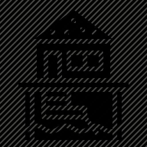 bungalow, house, sea, stilt, summer icon