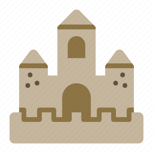 building, castle, construction, sand, sandcastle, summer icon