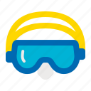 beach, goggles, pool, sea, summer, swimming goggles icon