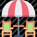 chair, furnishing, furniture, lounge, parasol, umbrella icon