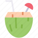 beverage, cocktail, coconut, drink, straw, tropical icon