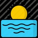 horizon, sea, sun, sunrise, sunset, weather