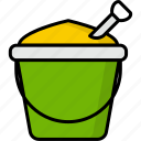 sand basket, basket, bucket, sand, beach