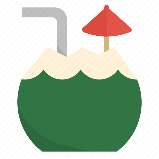 beach, coconut, drink, fresh, summer, vacation icon