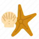 beach, fish, sea, seashell, star, summer icon