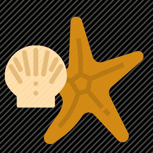 beach, fish, sea, seashell, star, summer icon