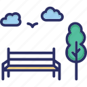 park bench, rest, seat, wooden bench icon