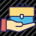 briefcase, business case, laptop bag, office case icon