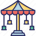 amusement park, fair ride, fun activity, leisure activity icon
