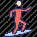 board surfing, surfing, surfing boy, water sports icon