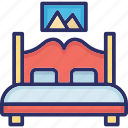 bed, bedroom, double bed, furniture icon