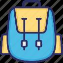 backpack, bag, baggage, sackpack icon