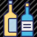 alcohol bottles, beverage, champagne, drink icon