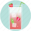 beverage, cocktail, cup, drink, glass, strawberry, summer icon