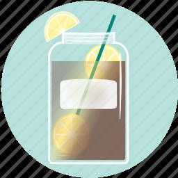 beverage, drink, iced tea, lemon, mason jar, sumerdrink, summer icon