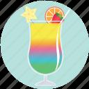 summer, cocktail, rainbow, drink, fruit, beverage, glass