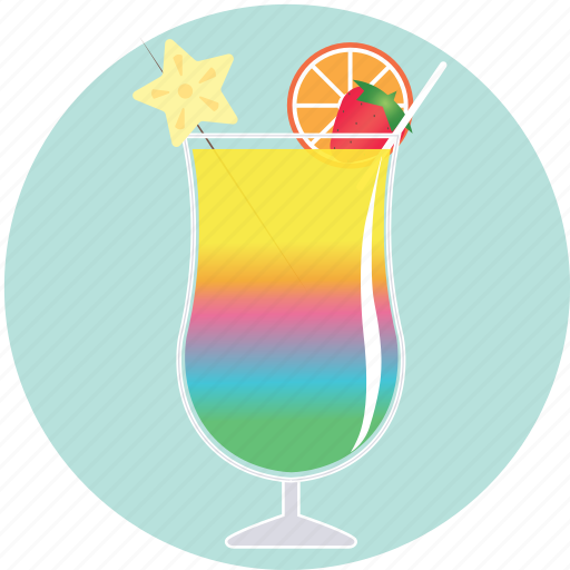 beverage, cocktail, drink, fruit, glass, rainbow, summer icon