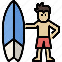 beach, man, season, summer, surfboard, surfing, vacation icon