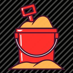 beach, bucket, play, sand, shovel icon