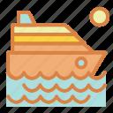beach, cruise, ocean, ship, summer, travel, vacation icon
