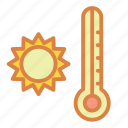 beach, hot, summer, sun, thermometer, vacation