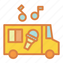 beach, children, cream, ice, summer, truck, vacation icon