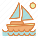 beach, ocean, sailboat, sea, summer, vacation icon