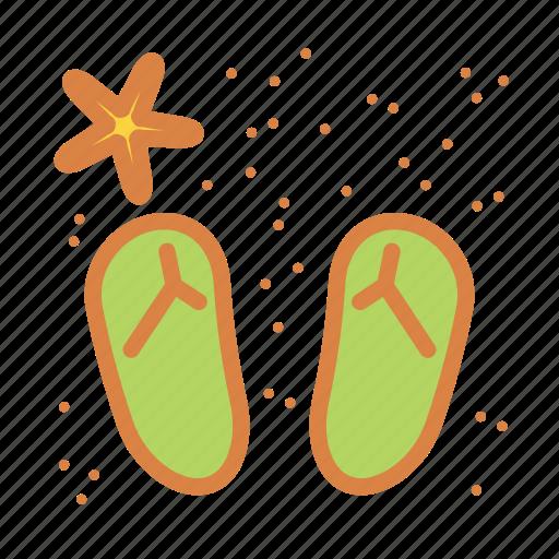 beach, sand, sandals, starfish, summer, vacation icon