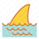 beach, danger, shark, summer, vacation icon