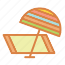 beach, summer, towel, umbrella, vacation icon