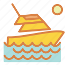 beach, luxury, ocean, summer, vacation, yacht icon