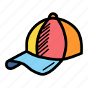 accessory, cap, clothing, game, sport, summer, wear icon