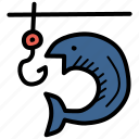 camping, fish, fishing, holiday, hook, vacation, water icon