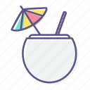 coconut, drink, fresh, fruit, juice, refreshment, summer icon