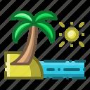 beach, sea, summer, holiday, coconut tree