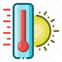 temperature, hot, summer, sun, thermometer