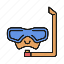 diving, mask, pool, snorkel, summer, swimming, water icon