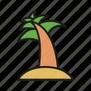 beach, coast, leaf, palm, plant, summer, tree icon