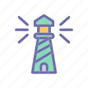 beach, lighthouse, summer, vacation, weather icon