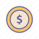 beach, coins, summer, vacation, weather icon