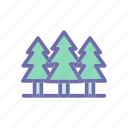 beach, forest, summer, vacation, weather icon
