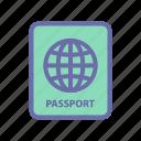 beach, passport, summer, vacation, weather icon