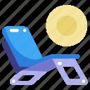 beach chair, chair, deck chair, holidays, relax, spa, summer icon