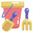 beach, bucket, childhood, sand bucket, shovel, summertime, toy icon