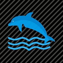 dolphin, fish, marine, ocean, swim, water, whale icon