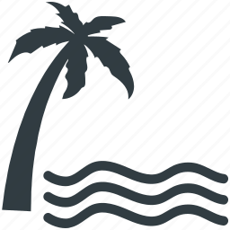 beach, island, palm tree, sea, summer icon