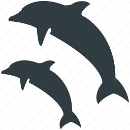two dolphins, water, whale jumping, wildlife icon