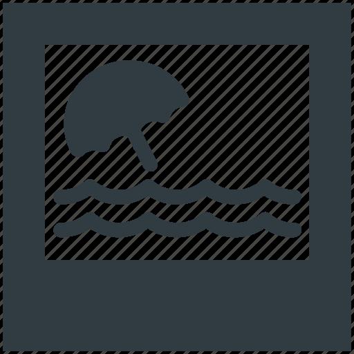 beach umbrella, landscape, nature, ocean, scenery icon