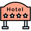 hanging board, hotel, info board, four-star, signboard, service, sign
