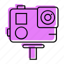 action cam, beach, camera, go pro, gopro, holiday, sea, summer, travel, vacation icon